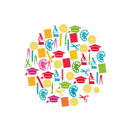 Education color icons set, vector illustration design