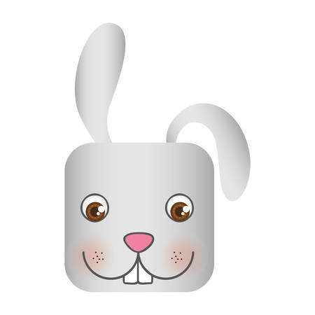 White cute rabbit head cartoon, vector illustration