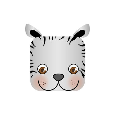 cute zebra animal head expression, vector illustration