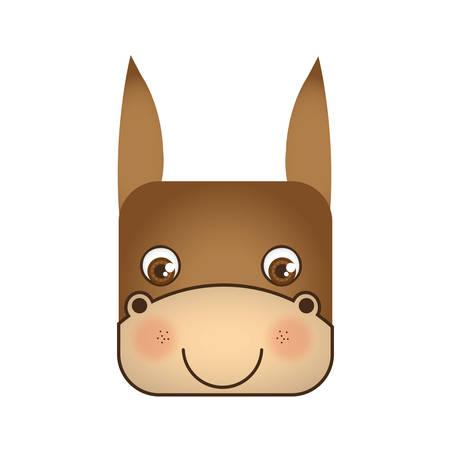 cute donkey animal head expression, vector illustration