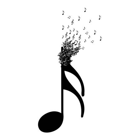 semiquaver: Monochrome background with semiquaver note with top fading vector illustration