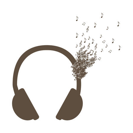 Monochrome background of headphones with music notes fading vector illustration Illustration