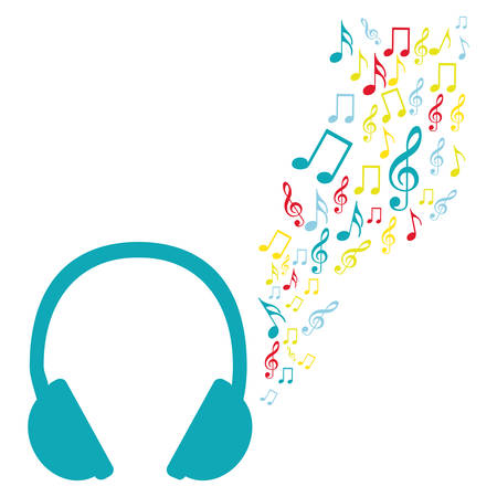 color silhouette of headphones with music sound vector illustration Illustration