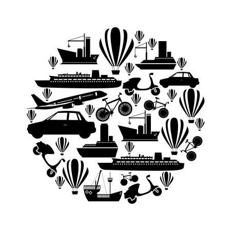 Modèle circulaire monochrome formé par l'illustration vectorielle de transport moyen