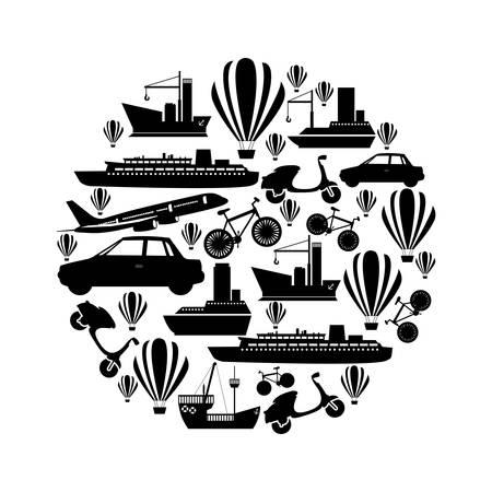 Monochrom kreisförmigen Muster gebildet durch bedeutet Transport Vektor-Illustration Standard-Bild - 75144950