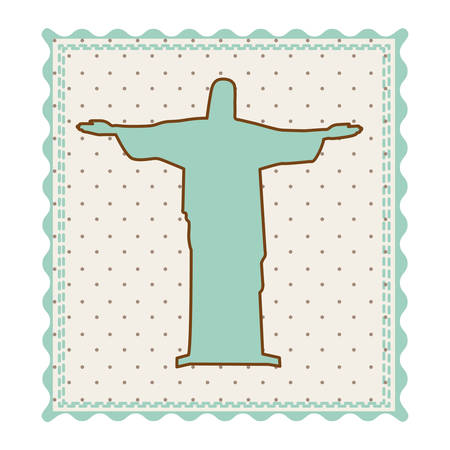cristo: Frame with silhouette of christ redeemer with background dotted vector illustration