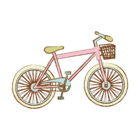 rack mount: silhouette of bike of girl with basket  illustration Stock Photo