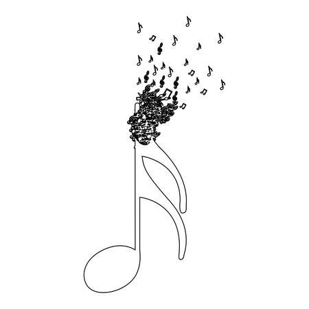 Monochrome contour of semiquaver note with top fading vector illustration