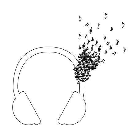 Monochrome contour of headphones with music notes fading vector illustration Illustration