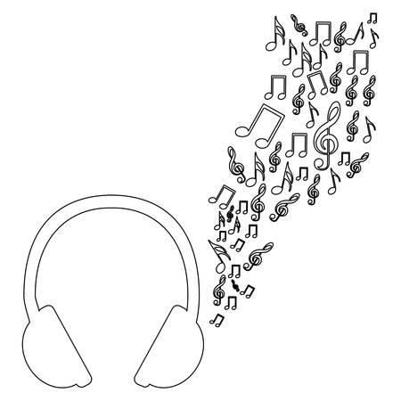 semiquaver: Monochrome contour of headphones with music sound vector illustration Illustration