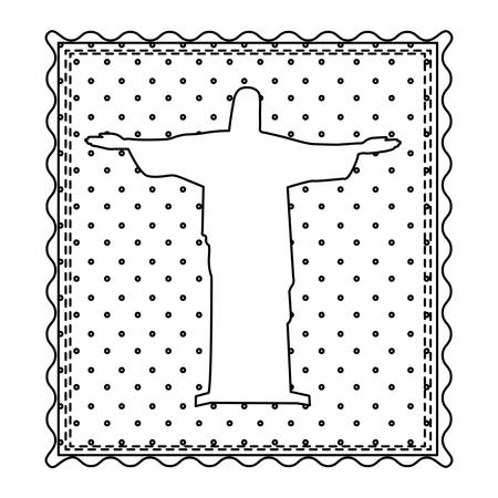 cristo: Monochrome contour frame of christ redeemer with background dotted vector illustration