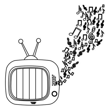 monochrome contour of tv set with sound vector illustration Illustration