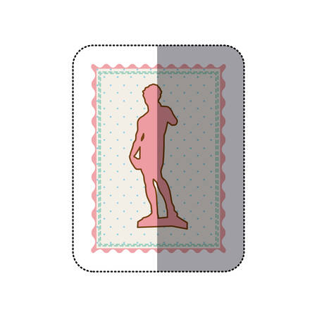 Sticker frame with silhouette of sculpture david made by buonarroti vector illustration