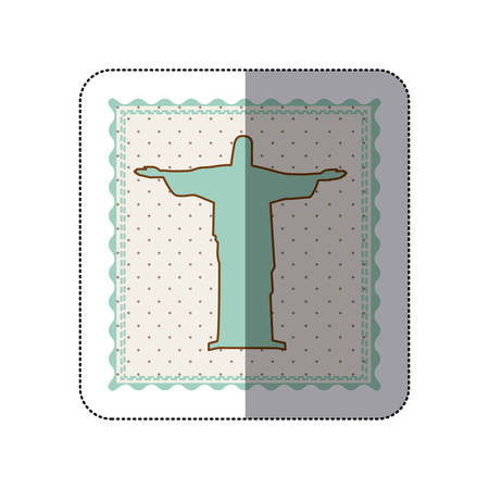cristo: Sticker frame with silhouette of christ redeemer with background dotted vector illustration