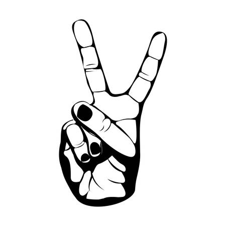black silhouette hand with two fingers symbol vector illustration
