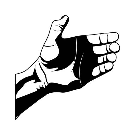 sketch silhouette right hand holding something vector illustration