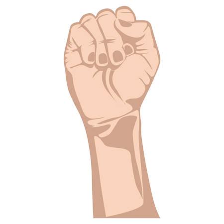 puños cerrados: bosquejo silueta piel color brazo derecho con puño cerrado ilustración vectorial