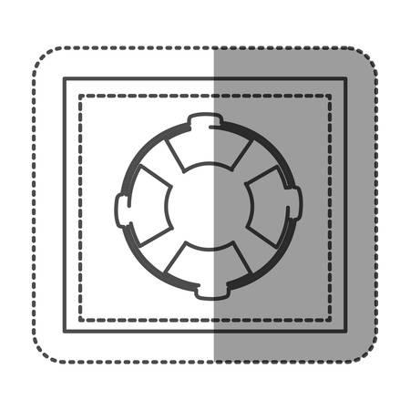 flotation: monochrome sticker frame with flotation hoop vector illustration