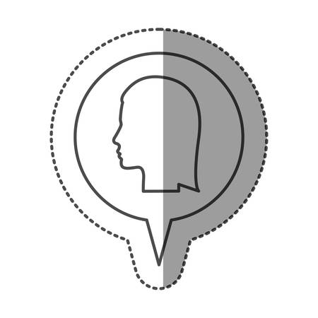 sticker monochrome of circular speech with silhouette female head vector illustration Illustration