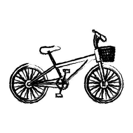 rack mount: monochrome sketch of bike with basket in white background vector illustration Illustration
