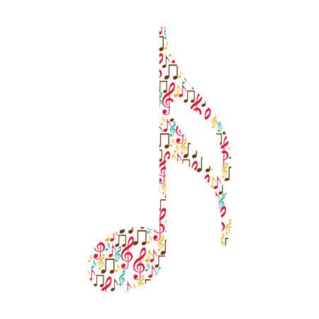 Ilustración de vector de nota de semicorchea de color formado por notas musicales