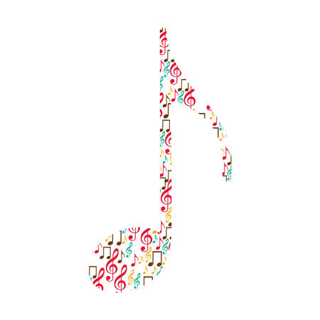 quaver: quaver note color silhouette formed by musical notes vector illustration Illustration