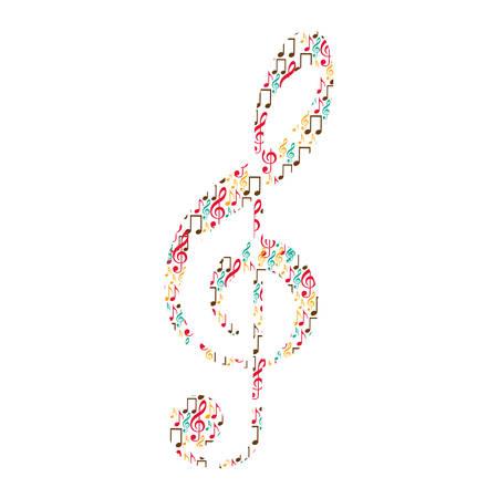 solsleutel in kleur silhouet gevormd door muzieknoten vector illustratie