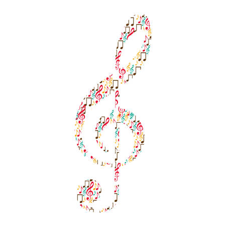 treble clef in color silhouette formed by musical notes vector illustration Stock Vector - 74991659
