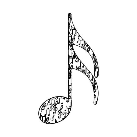 semiquaver: semiquaver note monochrome silhouette formed by musical notes vector illustration