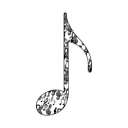 quaver: quaver note monochrome silhouette formed by musical notes vector illustration Illustration