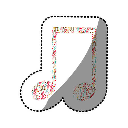 40: sticker musical note color silhouette formed by musical notes vector illustration