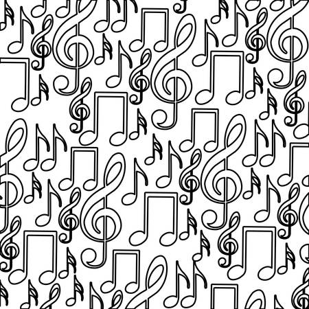 crotchet: monochrome background with pattern of musical notes icons vector illustration