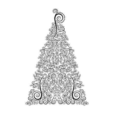 単品白黒 モノクロ クリスマスツリー 花 イラスト クリスマス Www