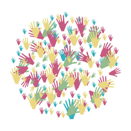 colorful circle formed by pattern of hands vector illustration