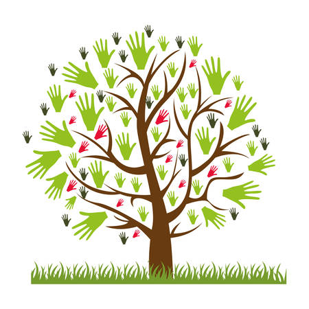 color silhouette of tree with leaves in shape of hands vector illustration