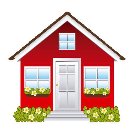 comfortable facade house with garden vector illustration