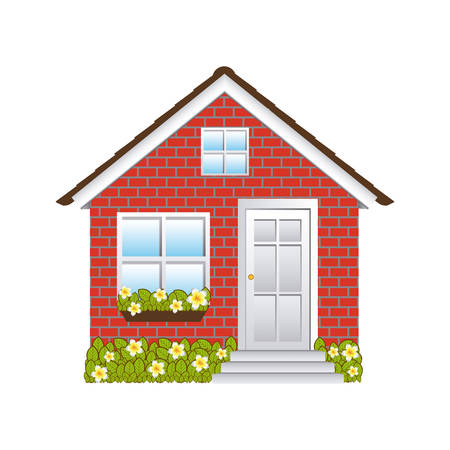comfortable facade small house with brick wall vector illustration