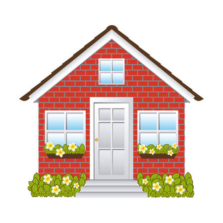 comfortable facade house with brick wall vector illustration Illustration
