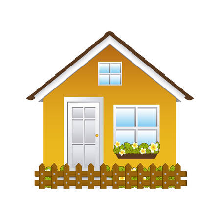 comfortable yellow facade house with garden and wooden fence vector illustration Illustration