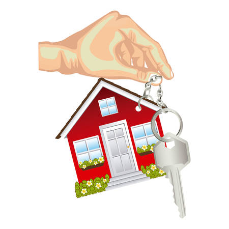 skin color hand holding keyring in house shape and metallic key vector illustration