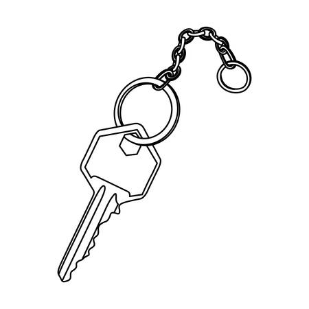 chave de metal realista silhueta com ilustração em vetor cadeia ícone design