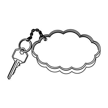 silhouette metal key with keyring in cloud shape vector illustration