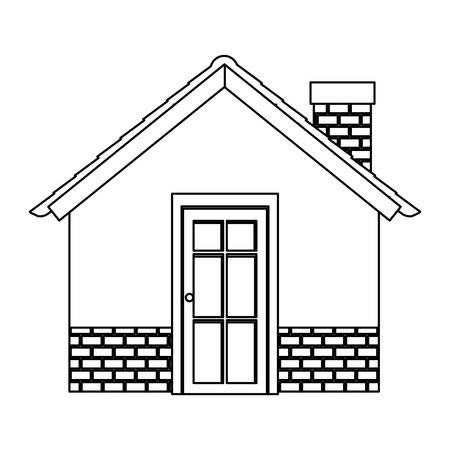 silhouette comfortable facade house with chimney without windows vector illustration