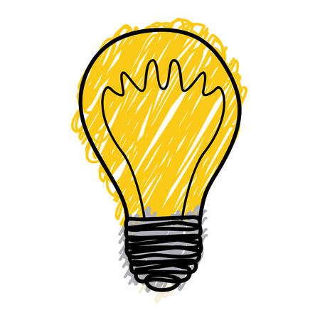 yellow pencil drawing background of light bulb with filament in shape of waves vector illustration Illustration