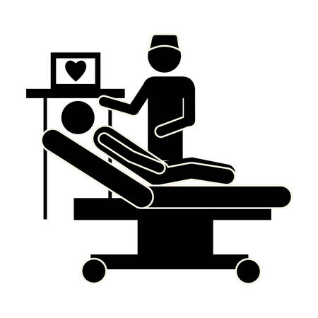 reanimation: doctor examine the patient, vector illustration design