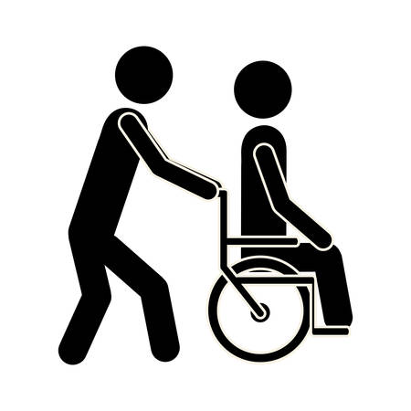 reanimation: nurse bring the patient in wheelchair, vector illustration design