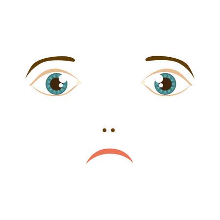 lwoman very sad expression, vector illustration design