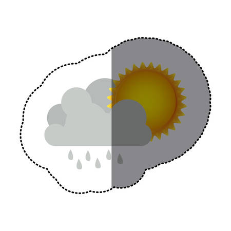 sticker colorful cumulus cloud with rain and sun vector illustration