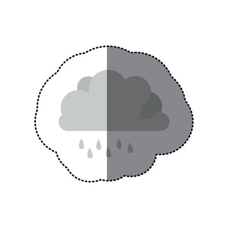 Monochrome Cumulus Cloud With Raindrops Vector Illustration Royalty