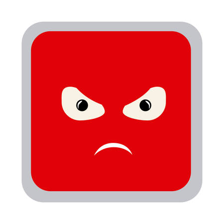 square colorful shape emoticon angry expression vector illustration Stock Vector - 75420299